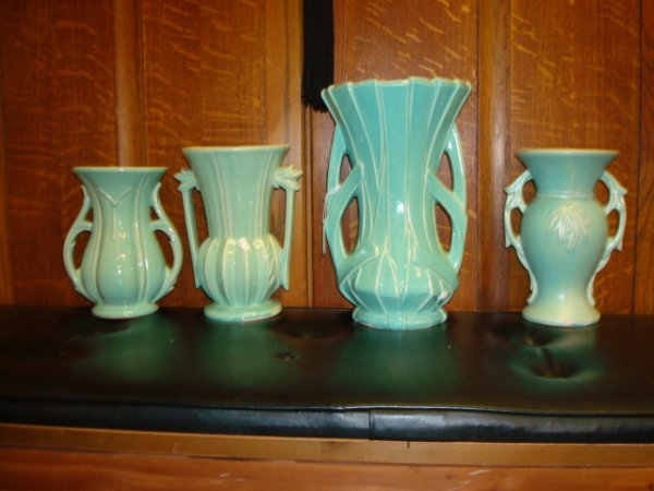 1513: 9 MCCOY Pottery Green and Yellow Vases: - 3