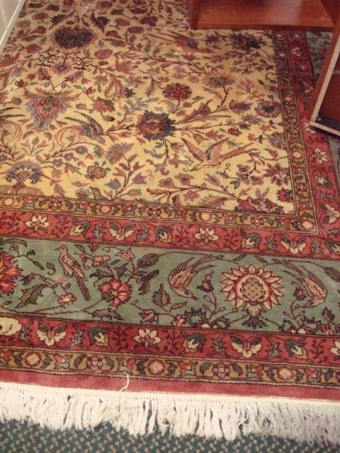 1521: Hand Loomed Artist Signed Room Size Rug 9 x 12: