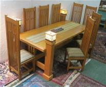 Unique Frank Lloyd Wright Style Dining Set w/Lights: