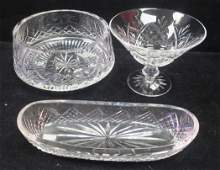 Three Pieces of WATERFORD Clear Cut Crystal: