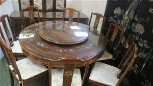 Rosewood MOP Inlaid Asian Dining Table and Server: