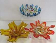 Three Italian Art Glass Free Form Bowls:
