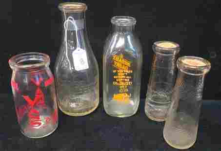 Five Collectible Vintage Dairy Bottles
