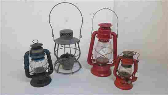 Four Antique AntiqueVintage Kerosene Lanterns
