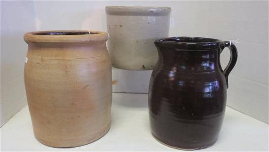 Stoneware Pitcher and Two Crocks