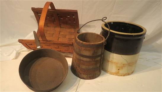 Vintage Wooden Log Holder Bucket Crock Iron Pan