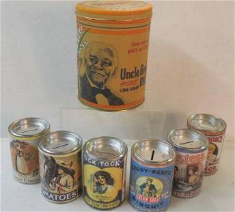 UNCLE BENS CONVERTED RICE and Six Tins w Bank Tops