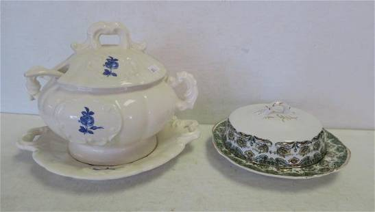 Porcelain Small Tureen with Underplate and Ladle