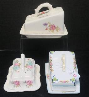 Three Vintage Two Part Ceramic Cheese Dishes