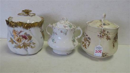 Two Porcelain Biscuit Jars and Large Sugar Bowl