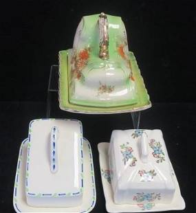 Three Antique 2 Part Cheese Dishes