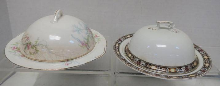 Two Vintage Porcelain Round Covered Butter Dishes