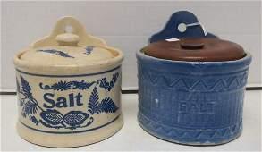 Two AntiqueVintage Stoneware Salt Boxes