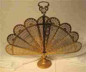 Pierced Brass Fan Folding Fire Screen
