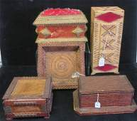 Five TrampFolk Art Match Stick  Chip Boxes Basket