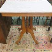 White w/ Grey Veining Marble Top Table: