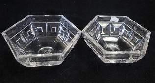 Pair of Rosenthal Clear Crystal Hexagonal Bowls