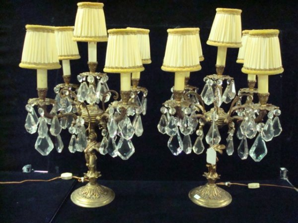 1: Pair of 5 Arm Antique French Table Chandeliers: