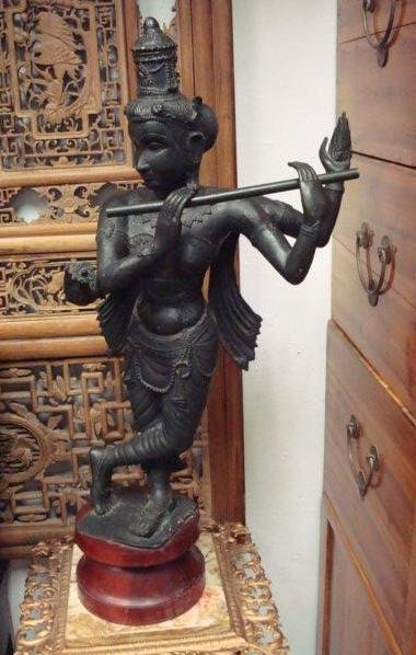 "2: 19th C. Bronze ""Pad Mapani"" Thai 4 Arm Flute Player:"