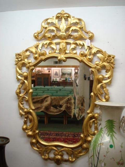 3: Ornate Gilt Carved French Shield Mirror: