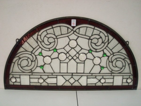 4: Transom Leaded Glass Arched Panel: