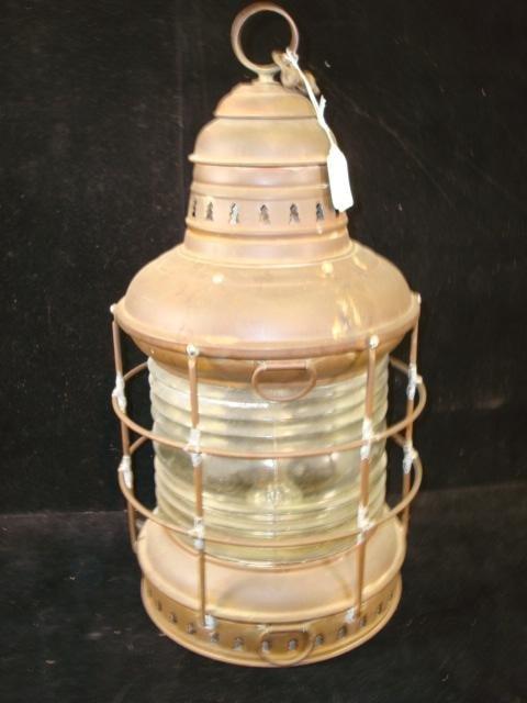 5: Vintage Brass Ship's Lantern with Glass Globe: