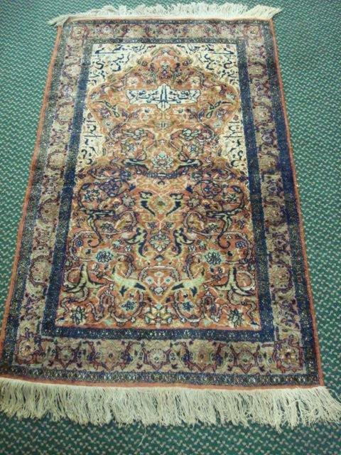 7: Hand Loomed Wool, Silk Garden Design Prayer Area Rug