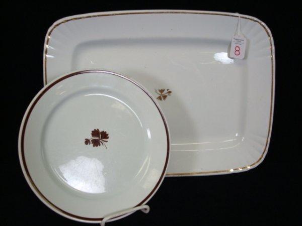8: POWELL & BISHOP TEA LEAF Ironstone Platter and Plate