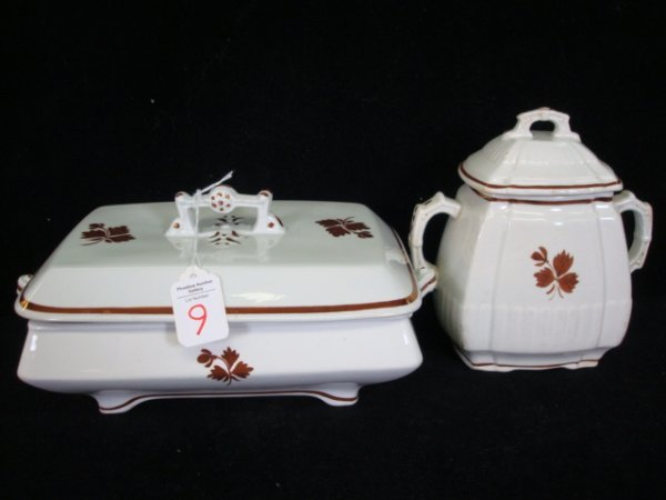 9: ANTHONY SHAW TEA LEAF Covered Dish and Sugar Bowl: