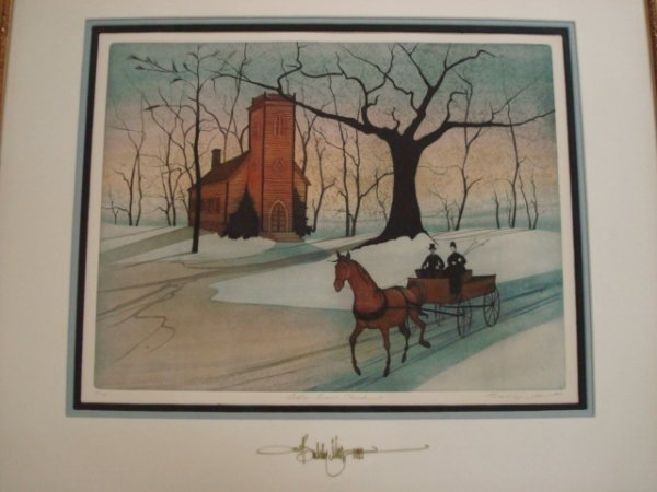 14: P BUCKLEY MOSS Signed Little Brown Church Litho: