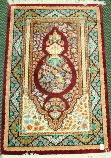 19: Signed Silk Qum Iranian Mehrab Rug: