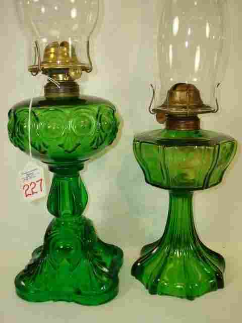 2 Vintage Green Glass Oil Lamps