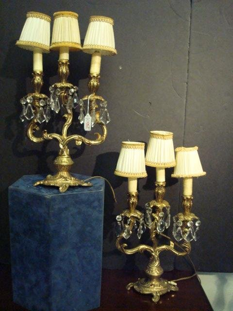 18A:  Pair of French Three Armed Brass Table Lamps: