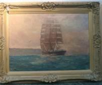JOHN CHARLES ALLCOT, CLIPPER SHIP MAOGUAM, Oil Canvas:
