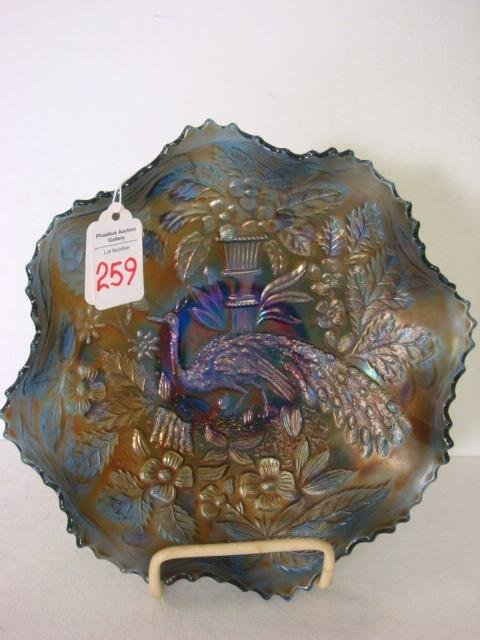 259: FENTON Carnival Peacock and Urn Ruffled Blue Bowl: