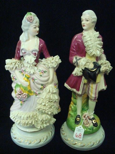 293: 2 CHANTILLY CHINA Porcelain Victorian Figurines: