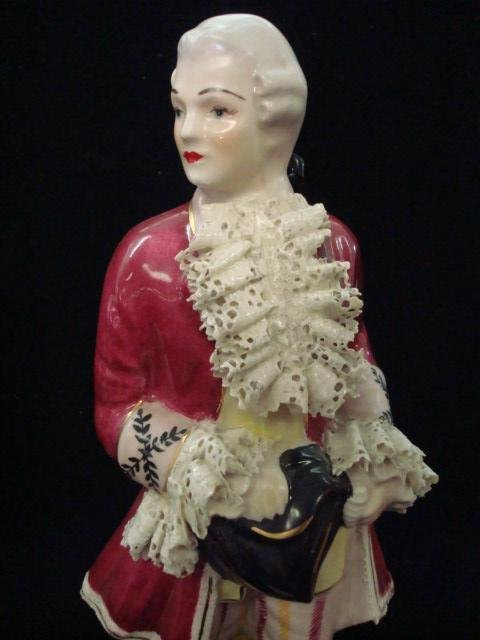 293: 2 CHANTILLY CHINA Porcelain Victorian Figurines: - 2