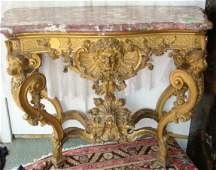 443: Exquisite Marble Top Rococo Revival Console Table: