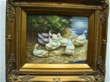 464: Oil on Board Flock of Ducks in Ornate Bronzed Fram
