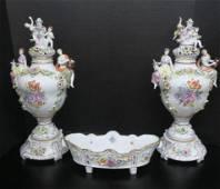 Dresden Hand Painted Porcelain Centerpiece Trio: