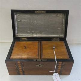 19th Century Marquetry Inlaid Walnut Tea Caddy:
