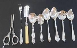 Nine Assorted Sterling Silver Servers: