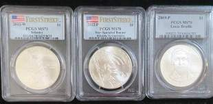 3 PGCS. Graded MS 70 90% Silver US Commemorative Coins