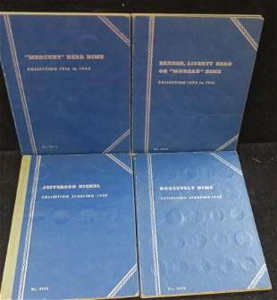 3 Coin Folders; Partial Collections of Silver Dimes: