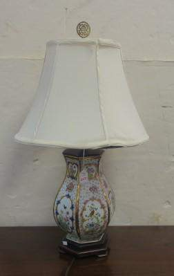 Asian Vase Table Lamp with Shade: