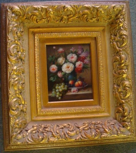 1: Floral Fruit Still-life on Board Elaborate Gilt Fram
