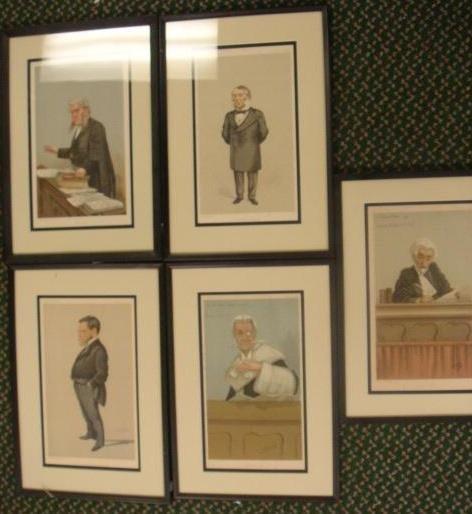 3: 19thC 5 VANITY FAIR Framed Caricature Lawyer Prints: