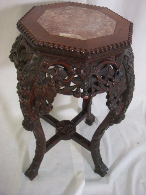 """5:  24""""T Carved Rosewood Oriental Stand with Marble:"""
