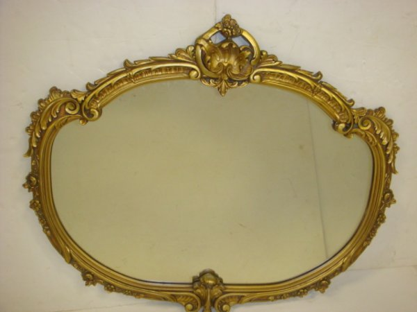 7: Ornate Gold Frame 1920's Plate Wall Mirror:
