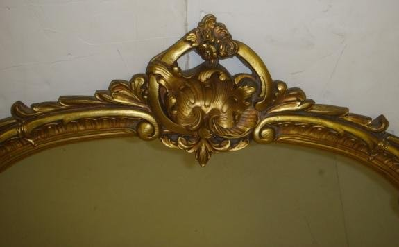 7: Ornate Gold Frame 1920's Plate Wall Mirror: - 2